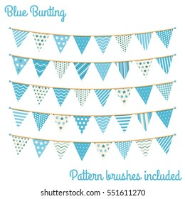 Blue bunting, design elements for decoration of greetings cards, invitations etc, vector eps10 illustration