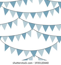 Blue bunting flags vector seamless pattern. Happy Birthday ribbons background. Festal kid party backdrop.