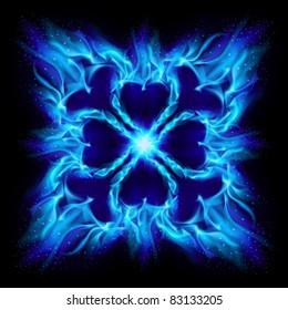 Blue Burning fire cross. Illustration on black background for design