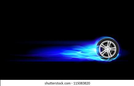 Blue Burning wheel. Illustration on black background