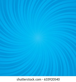 Blue burst background. Swirling radial pattern. Vector illustration.