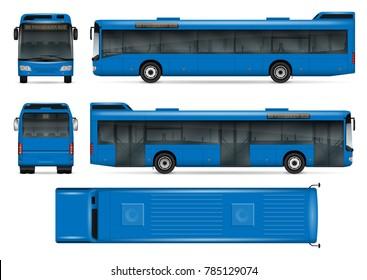 Blue bus vector mock-up for advertising, corporate identity. Isolated template of city transport on white. Vehicle branding mockup. Easy to edit and recolor. View from side, front, back, top.