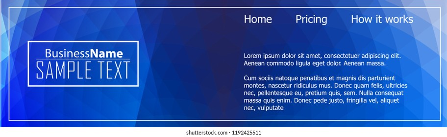 Blue business banner background. Trendy banner on colorful backdrop. Abstract flyer design background.  Web banner, header layout template. Business card template. Abstract flyer design background.