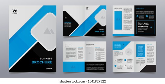 blue business brochure cover and pages template