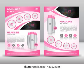 Blue business brochure flyer design layout template in A4 size, cosmetic magazine ads, leaflet, poster layout