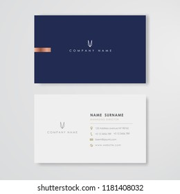 Blue business card flat design template vector