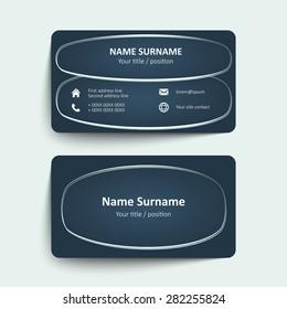 Blue business card set, template or visiting card. Vector illustration.