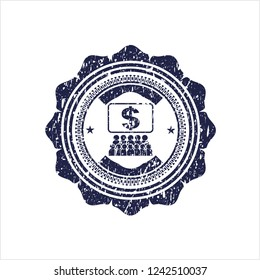 Blue business congress icon inside grunge seal