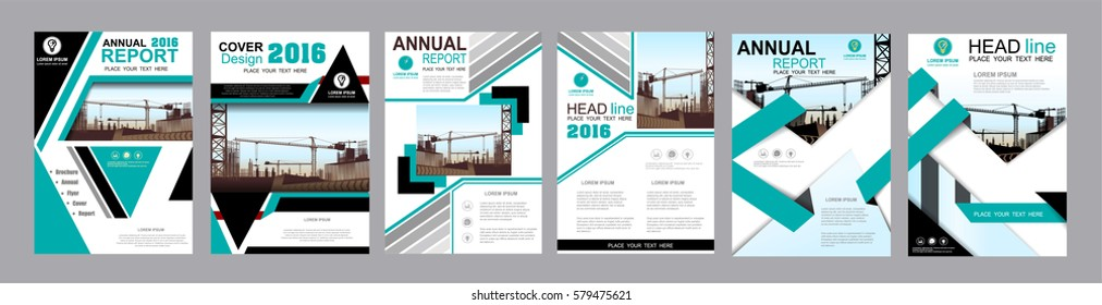 blue business Construction annual report brochure flyer design template vector, Leaflet cover presentation abstract geometric background templates, modern publication poster magazine layout in A4 size