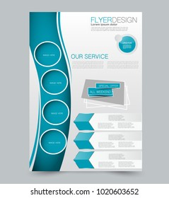 Blue business flyer. a4 pribtable poster or brochure. Vector illustration.