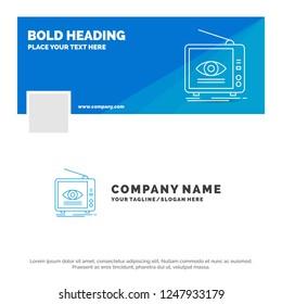 Blue Business Logo Template for Ad, broadcast, marketing, television, tv. Facebook Timeline Banner Design. vector web banner background illustration