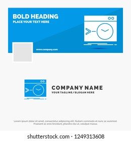 Blue Business Logo Template for Admin, command, root, software, terminal. Facebook Timeline Banner Design. vector web banner background illustration