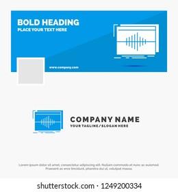 Blue Business Logo Template for Audio, frequency, hertz, sequence, wave. Facebook Timeline Banner Design. vector web banner background illustration
