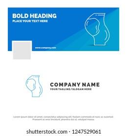 Blue Business Logo Template for pregnancy, pregnant, baby, obstetrics, fetus. Facebook Timeline Banner Design. vector web banner background illustration