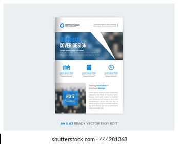 Blue business multipurpose  annual report brochure flyer design template vector, Leaflet cover presentation abstract geometric background, modern publication poster magazine, layout in A4 and A3 size