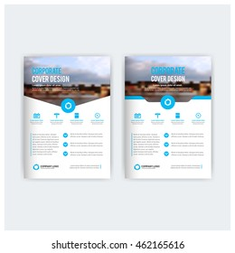 Blue business multipurpose annual report brochure flyer design template vector, Leaflet cover presentation abstract geometric background, modern publication magazine, layout in A4 and A3 size
