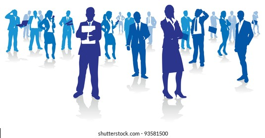 blue business people