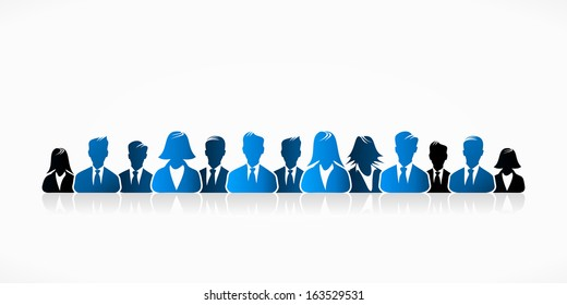 Blue business people group abstract silhouettes illustration