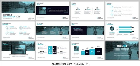Blue business presentation slides templates from infographic elements. Can be used for presentation, flyer and leaflet, brochure, marketing, advertising, marketing, annual report, banner, booklet.