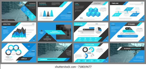 Blue business presentation slides templates from infographic elements. Can be used for presentation, flyer and leaflet, brochure, marketing, advertising, annual report, banner, booklet.
