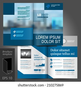 Blue business vector brochure template design with cityscape and geometric elements