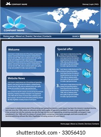 Blue business website template. All editable vector elements.