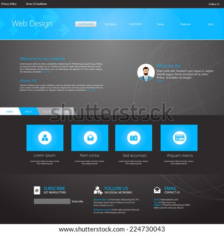 Blue business website template home page stock vector royalty free blue business website template home page design clean and simple with a space wajeb Images