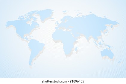 Blue business world map a perspective view and shadow