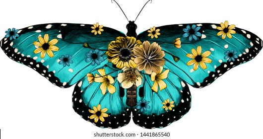 blue butterfly decorated with flowers, sketch vector graphic color illustration on white background