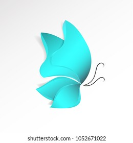 Blue butterfly paper-cut style with shadow isolated on white background. Abstract nature design object. Symbol of spring. 3d vector illustration.