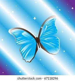 Blue butterfly, vector illustration, eps10