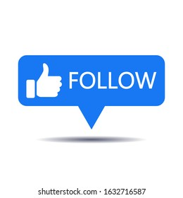 Blue button follow for social media websites and mobile apps.