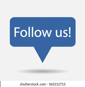 Blue Button Follow us isolated counter notification  Vector Logo, JPG, JPEG, EPS. Icon Button.Flat Social Media Sign