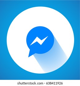 Blue Button Icon Vector Background, Download Face book Social media.  Facebook messenger icon. Messenger app.