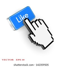 Blue button with Like text and hand cursor. Vector EPS10
