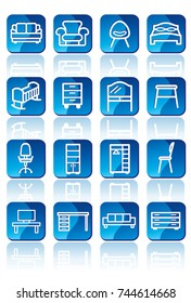 Blue buttons with furniture icons with shadows