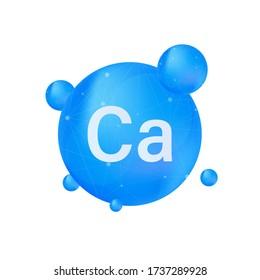 Blue calcium on white background. Calcium mineral. Ca pill capsule. Vector illustration.