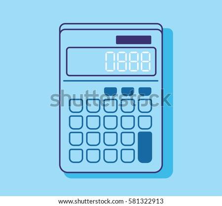 Blue Calculator Flat Design Icon Stock Vektorgrafik Lizenzfrei