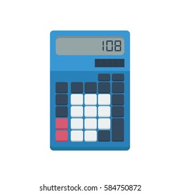 Blue calculator with solar panel, display screen and blank buttons vector illustration