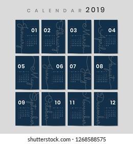 Blue calendar 2019 poster vector