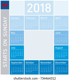 Blue Calendar for Year 2018, in English. Week starts on Sunday