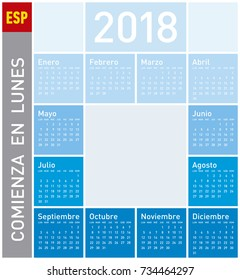 Blue Calendar for Year 2018, in Spanish. Week starts on Monday