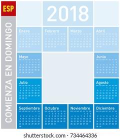 Blue Calendar for Year 2018, in Spanish. Week starts on Sunday