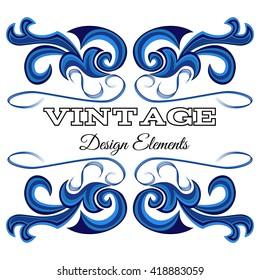 Blue calligraphic design elements and page decoration. Vintage floral elements for design.