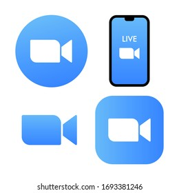 Blue camera icon - Live media streaming application for the phone, conference video calls with several people at the same time vector icon zoom logo.