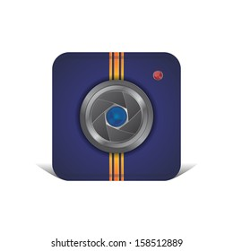 blue camera lens icon application