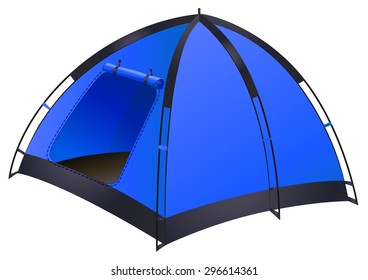 Blue camping tent on white illustration