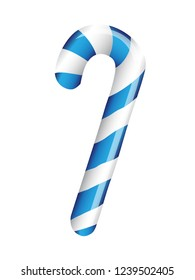 Blue candy cane on white background