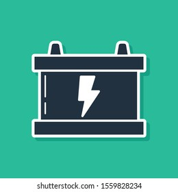 Blue Car battery icon isolated on green background. Accumulator battery energy power and electricity accumulator battery. Lightning bolt.  Vector Illustration