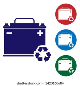 Blue Car battery with recycle icon isolated on white background. Accumulator battery energy power and electricity accumulator battery. Set color icon in circle buttons. Vector Illustration